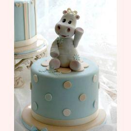 """Торт на 1 год """"Бегемотик на озере"""""""