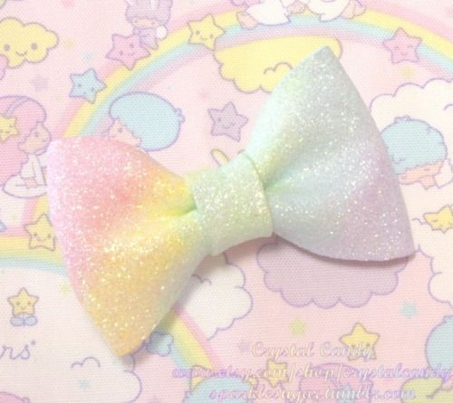 Sparkly #pastel #rainbow bow on cute Little Twin Star background.