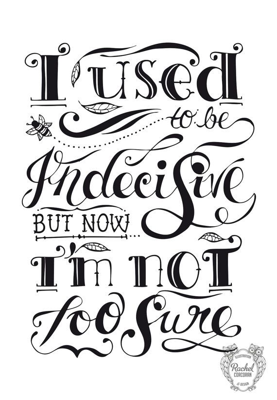 Typographic Print  Hand Lettering  INDECISIVE   by Rachillustrates, €20.00