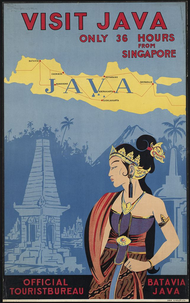 Vintage Travel Poster - only 36 hours from Singapore to Indonesia? How times have changed!