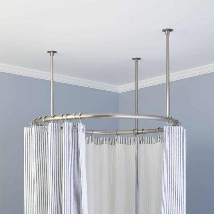 32 Round Solid Brass Shower Curtain Rod Shower Curtain Rods Bathroom Round Shower Curtain Rod Shower Curtain Rods Clawfoot Tub Shower