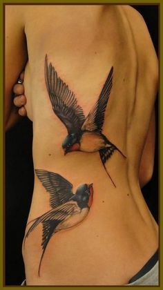 Swallow tattoos - Back in the old days, swallow tattoos were popular to the sailors who have traveled long distances. Its meaning is similar with the sparrow tattoo as well. #TattooModels #tattoo