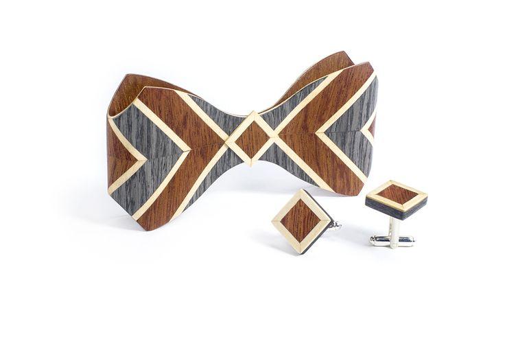 Комплект ТВИД2 зажим для галстука и запонки от БАГ из дерева | Серый дуб / Клён / Красное дерево - Махагон