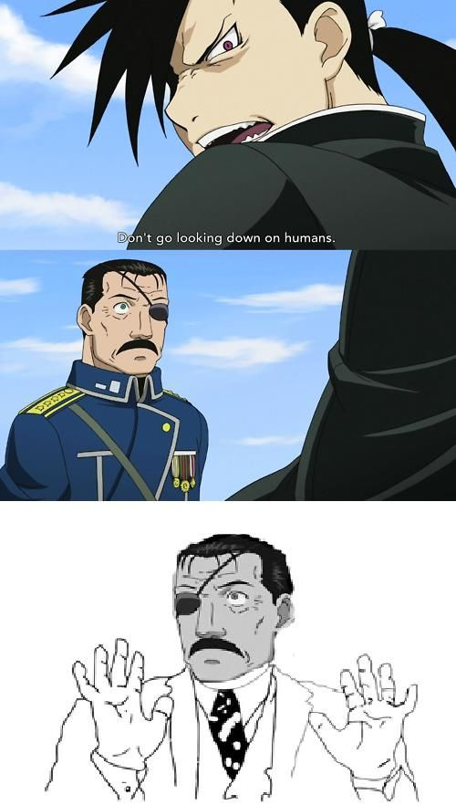 Full Metal Alchemist. I totally pictured Fuhrer Bradley as that meme in this scene. BahahaxD