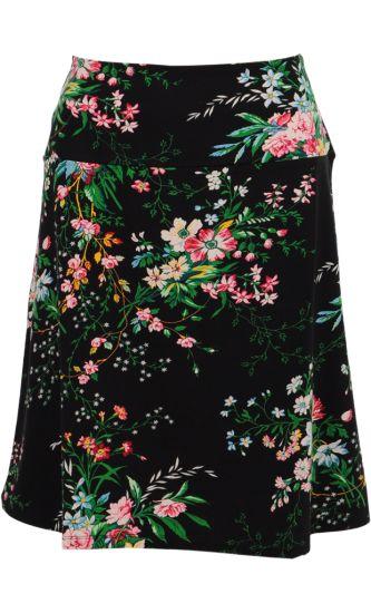 Vintage Inspired Autumn | ❀ | Borderskirt Black - Magnolia Flowers | ❀ | King Louie AW14