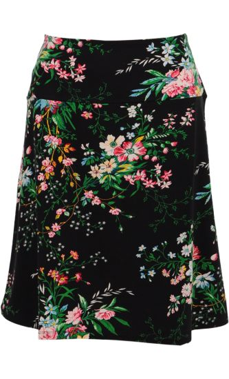 Vintage Inspired Autumn | ❀ | Borderskirt Black - Magnolia Flowers | ❀ | King Louie AW14