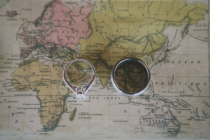 A global celebration of love! Use your wedding story to style your wedding. For this couple they used old world maps and postcards to celebrate their extensive travelling together during courtship and beyond x Photo courtesy of Shutter and Lace Photography