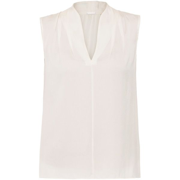Elie Tahari Judith Cream Stretch Silk Blouse (8,855 PHP) ❤ liked on Polyvore featuring tops, blouses, cream, cream top, elie tahari blouse, pleated blouse, elie tahari and elie tahari tops