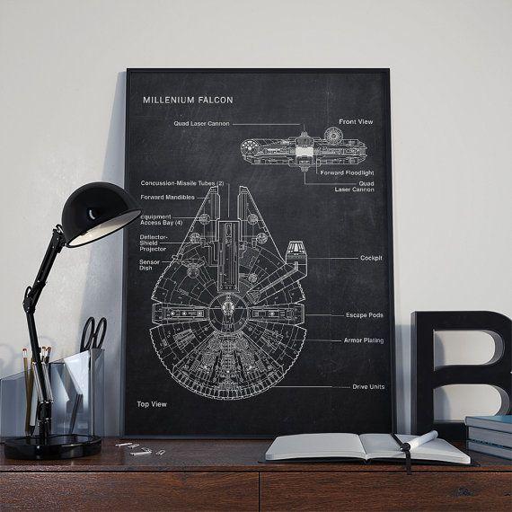 MILLENIUM FALCON Star Wars poster Patent di DamaDigitalDesign
