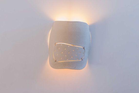 OOAK - Sculptured ceramic wall light fixture - textured lamp hamutalbenjoceramics israel