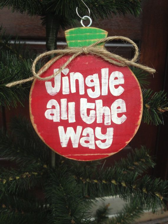 Jingle All The Way Wood Ornament by CelebrateOrnaments on Etsy, $12.00