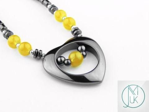 Black Hematite Heart Necklace 20'' Yellow - Michael's UK Jewellery
