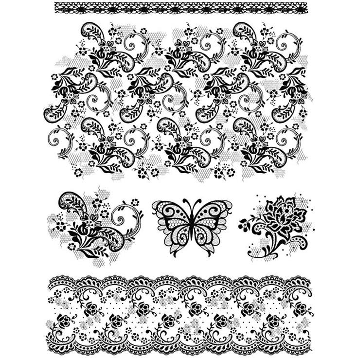 Set de 6 stampile din silicon, motiv vintage - stampile silicon, stampila, silicon