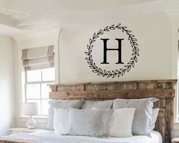 Vinyl Wall Decal Monogram Vinyl Letters Fall Wreath Family Wall Art Family Initial Wall Decal Farmhouse Wall Decal Simple Wall Sticker