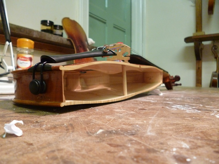 Violin Cut in Half to show how sound posts fit and work inside the violin.