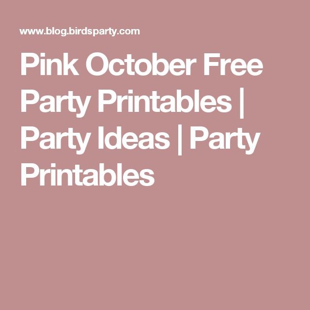 Pink October Free Party Printables | Party Ideas | Party Printables