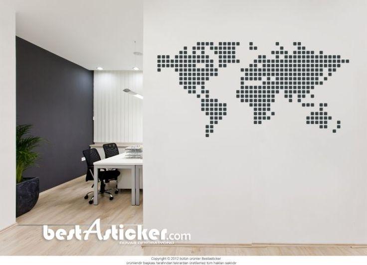 Dünya Haritası Duvar Sticker  Fiyat: 64 TL
