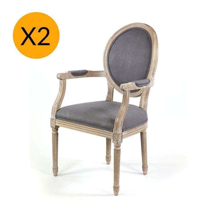 X2 French Provincial Round Dining Arm Chair Wolf Grey - Black Mango