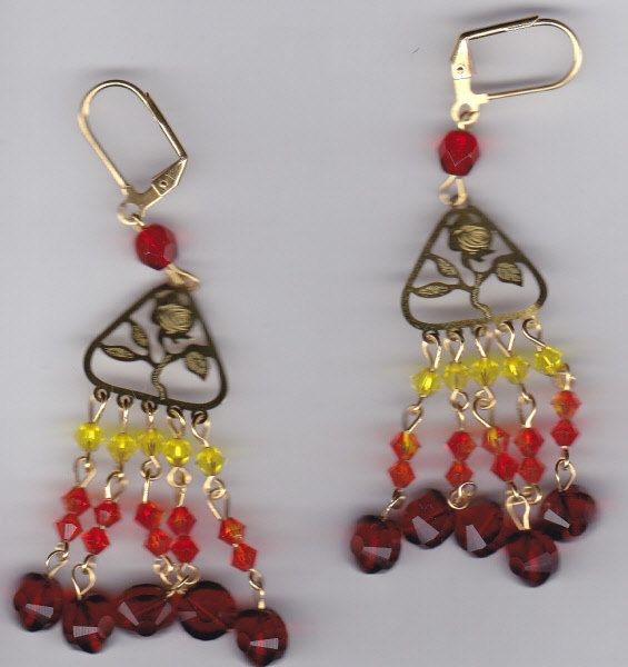 Flame Gold Earrings by Crisseyscreations on Etsy