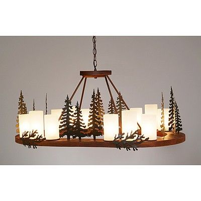 Rustic Lake Cabin Steel Oval Chandeliers Unique Handmade USA Trees   Avalanche-Ranch.com   #A41343