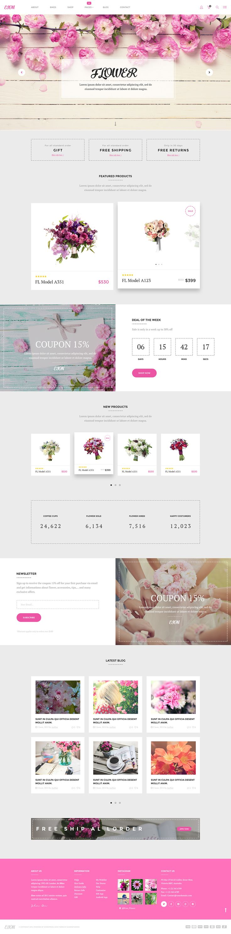 Free - EION - PSD Template for flower shops on Behance