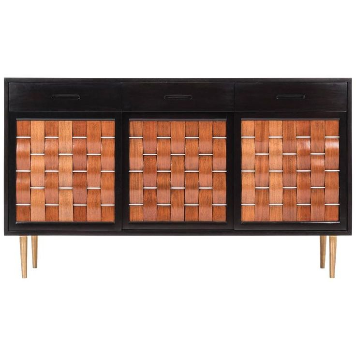 Edward Wormley Woven Front Credenza   From a unique collection of antique and modern credenzas at https://www.1stdibs.com/furniture/storage-case-pieces/credenzas/