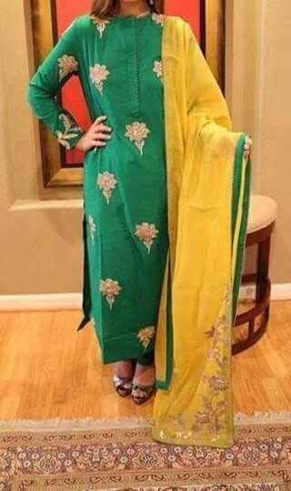 Dazzling Green Colored Designer Embroidered Suit In Pure Silk Suit With Yellow Dupatta