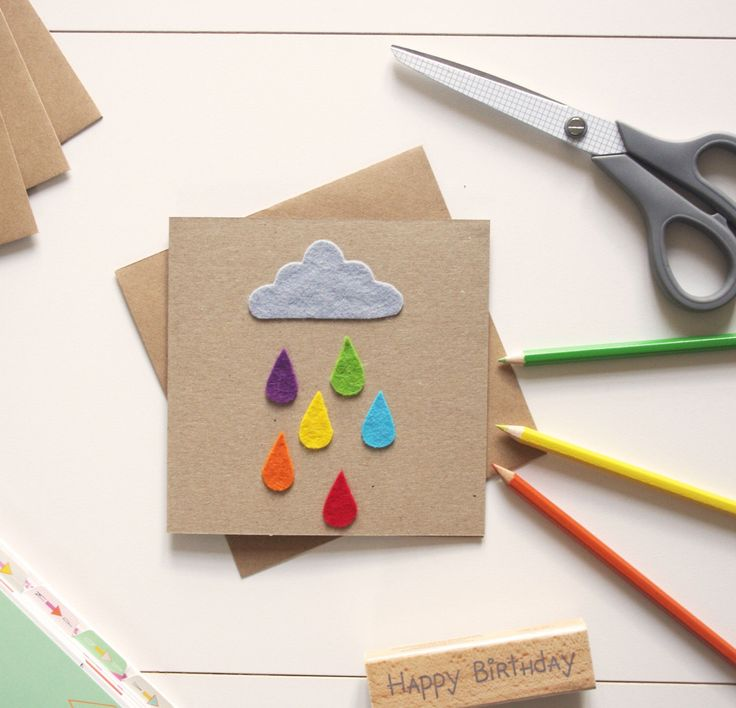 It may be raining but at least it's colourful raindrops ☺️  #greetingcards #felt #handmade #kids #colour