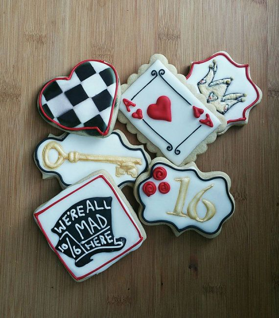 Elegant Alice in Wonderland Cookies. Customizable with age or name