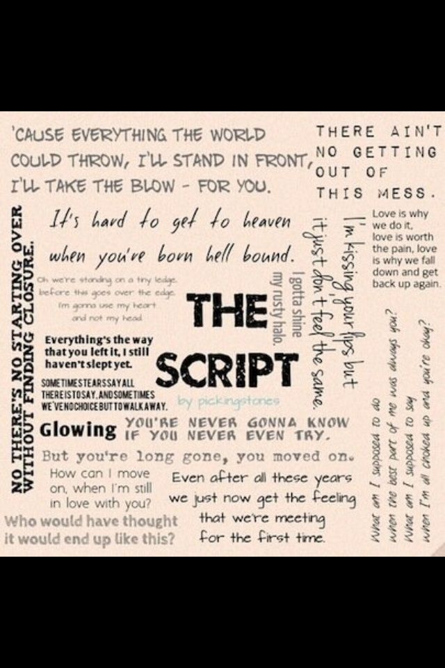 Lyrics from The Script's songs