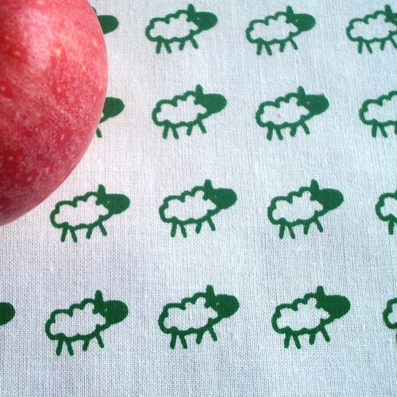 sheeps - hand screen printed skinny quarter - Dark Green on White on Etsy, £5.14