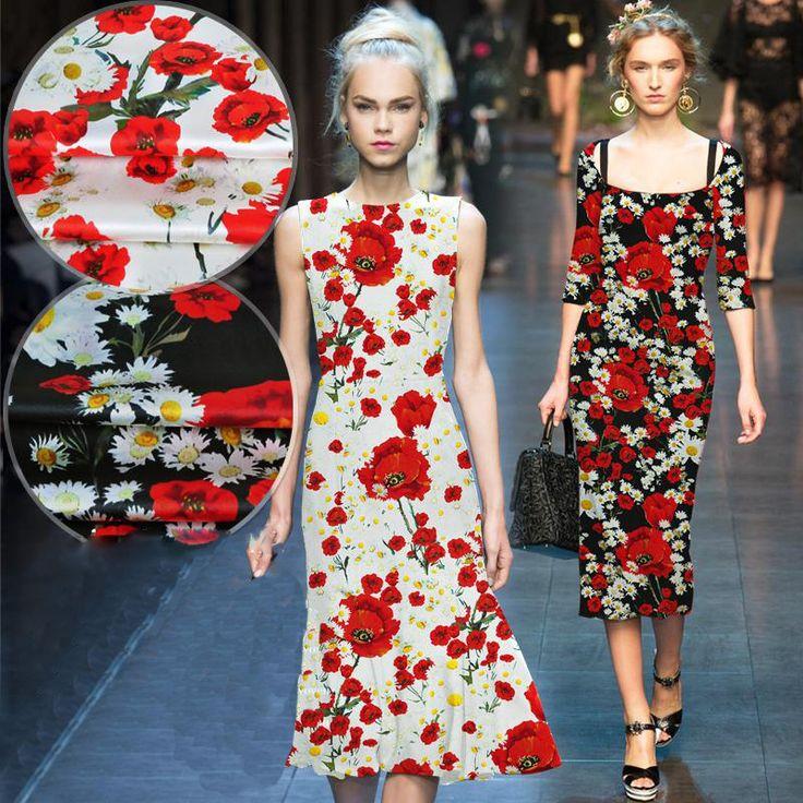 Дизайнер Американский стиль роскошный черный/белый цветочный принт спандекс/шелковой ткани для платья/футболка ткань 19 мм бесплатная доставка SP2923 купить на AliExpress