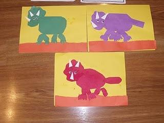 Construction paper dinosaurs