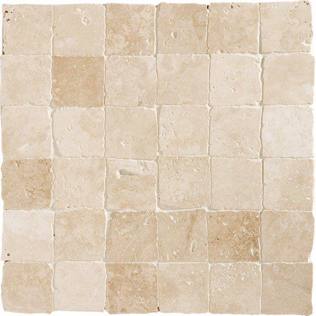 Mosaique Sol Et Mur Mineral Travertin Ivoire 4 8 X 4 8 Cm Travertin Mosaique Et Sol Et Mur