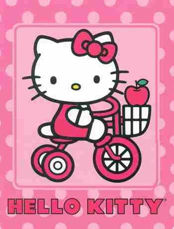 "$45.99 Hello Kitty Bicycle Royal Plush Micro Sherpa Throw Blanket 60"" x 80"" 100% Polyster + Tote Bag  From Sanrio   Get it here: http://astore.amazon.com/allaboutyourbed-20/detail/B006D1RXYQ/188-4589762-8332030"
