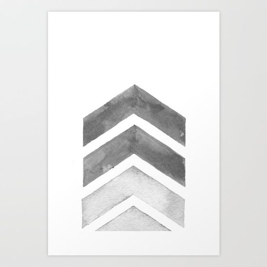 Buy Grey Watercolor Chevron Art Art Print by Nordic Print Studio. Worldwide shipping available at Society6.com. Just one of millions of high quality products available.