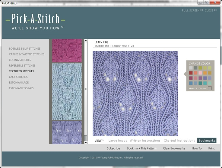 Bookmark you favorites so you can easily plan your next project.  Pick-A-Stitch™ is the easy, convenient way to explore your own unique knitting creativity!