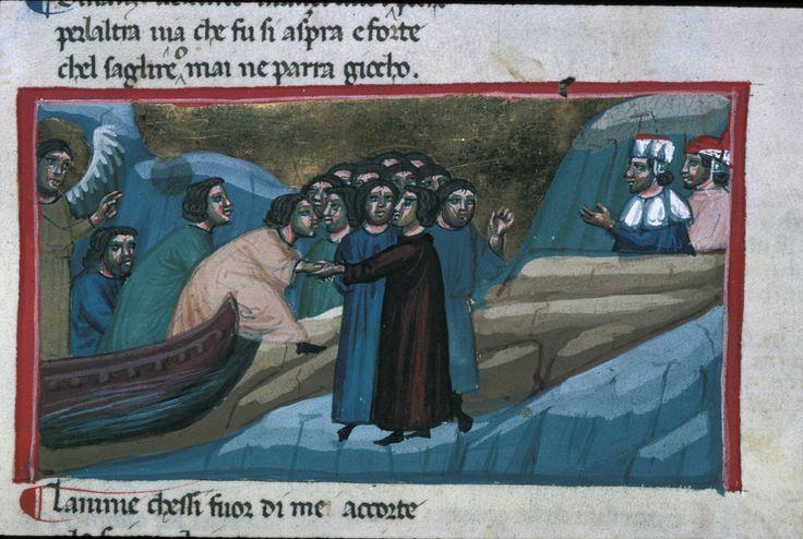 Miniatura medievale. Purg II: le anime scendono dall'imbarcazione e Dante incontra l'amico Casella