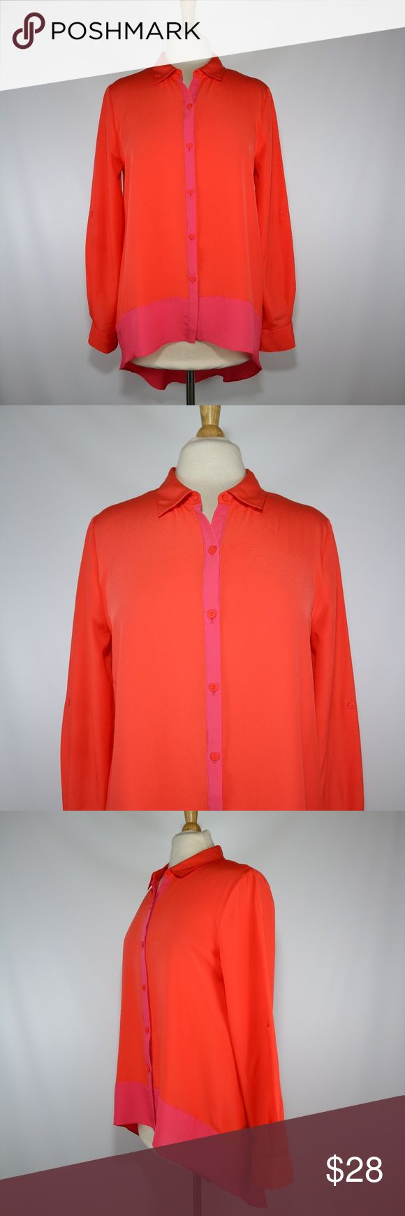 """Nicole Miller Hi Lo Button Up Blouse Nicole Miller women's long sleeve blouse with a hi lo hem. Overall it is orange with pink trim. The sleeves can roll to 3/4. Size M. Gently used and clean condition.  20"""" armpit to armpit  25"""" sleeves (shoulder seam to cuff) 25"""" long in front; 38"""" long in back Nicole by Nicole Miller Tops Blouses"""