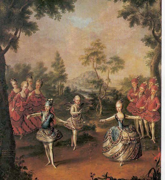 Geen rechten meer wegens ouderdom,eigen bewerking-De kinderen van Keizerin Maria Thersia dansen een ballet;18de eeuw oostenrijk.