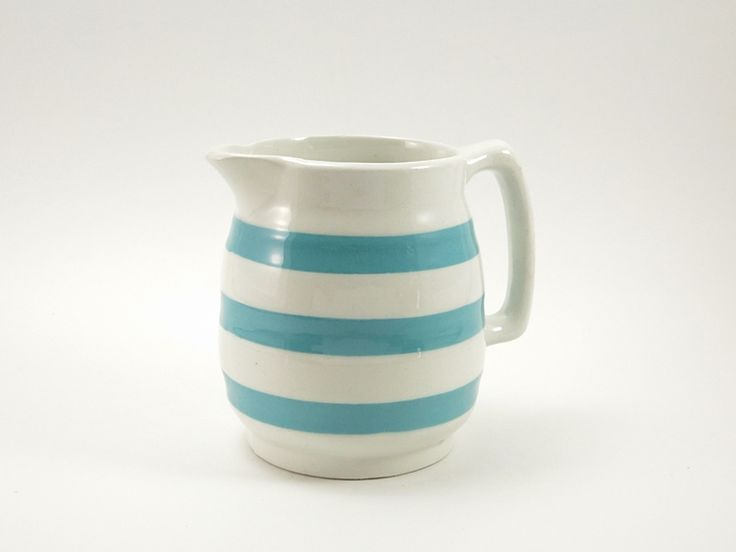 Carrigaline Pottery Striped Cream Pitcher Creamer - Blue and White ...