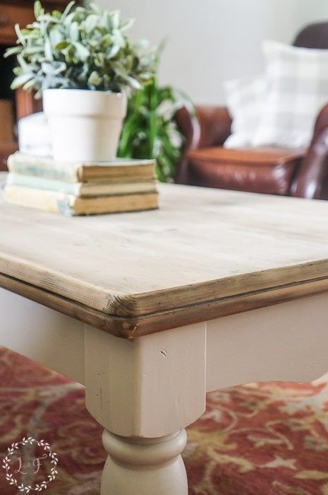 I have a fune Pine Coffee Table Makeover Farmhouse Style to share with you. New Fusion Mineral Paint color plus a simple wood aging technique. Come see how!