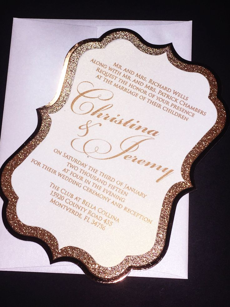 casual evening wedding invitation wording%0A Rose Gold Elegant Glitter Wedding Invitation  CHRISTINA VERSION