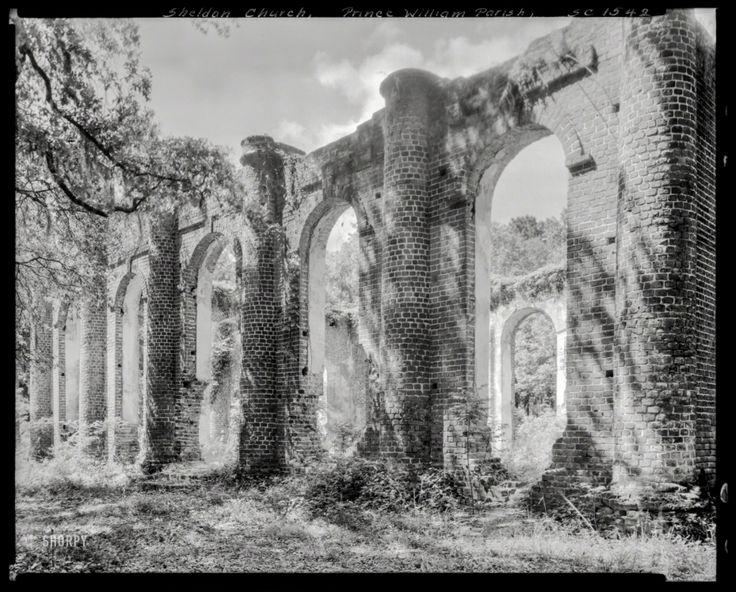 1938, руины церкви принца Уильяма, Шелдон, Бофорт Каунти, штат Южная Каролина.