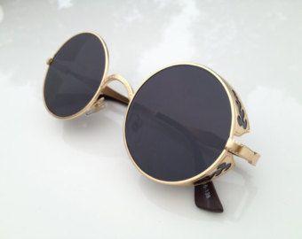 Black Fashion Retro Sunglasses Eyewear - Vintage Round Aviator Handmade Mens Womens Sunglasses Goggles