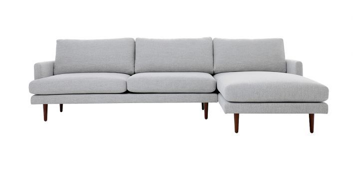 Elton Sectional Sofa Light Gray Fabric Right Contemporary Modern Living Room Furniture Modern Furniture Living Room Contemporary Modern Sofas