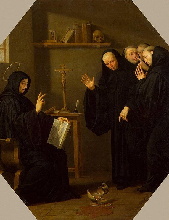 The monks that joined Saint Benedict tried to poison him several times: first by poisoning his drink, then his bread. After Saint Benedict blessed the poisoned drink, it is said that the cup shattered. This image illustrates this moment and the tension that occurred. These two events forced Saint Benedict to leave and return to his cave in Subiaco.