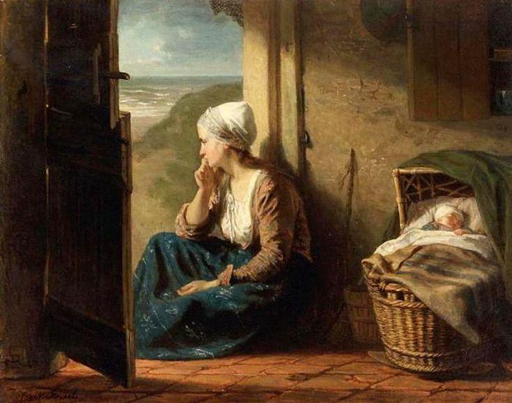 Jozef Israels (1824-1911) Jonge visservrouw met kind