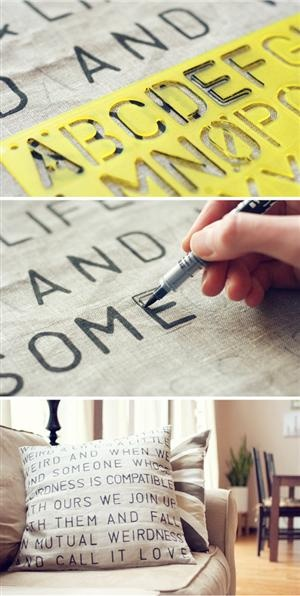Stenciled Quote Pillow:  This would be great for in my future office and in our living room