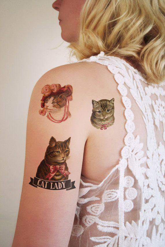 Cat lady temporary tattoo set / cat temporary tattoo by Tattoorary